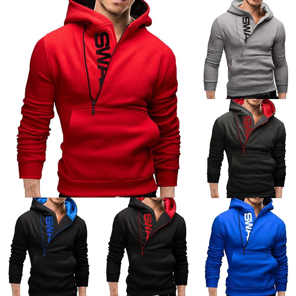 Sudadera deportiva con capucha de manga larga con cremallera de talla grande para hombre