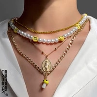 2021 trendy smiley mushroom pearls beaded necklace for women vintage golden portrait coin collar chain necklace beach jewelry ne