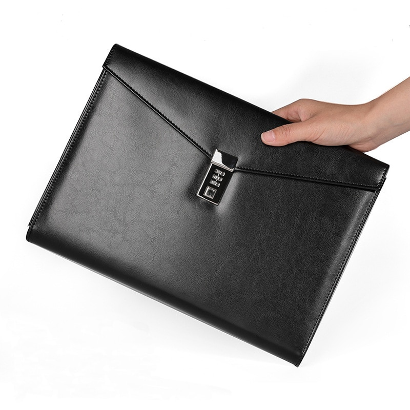 File Folder A4 Document Bag with Lock Padfolio Fichario Office Briefcase Organzier Executive Cabinet Manager Bag Stationery Kit