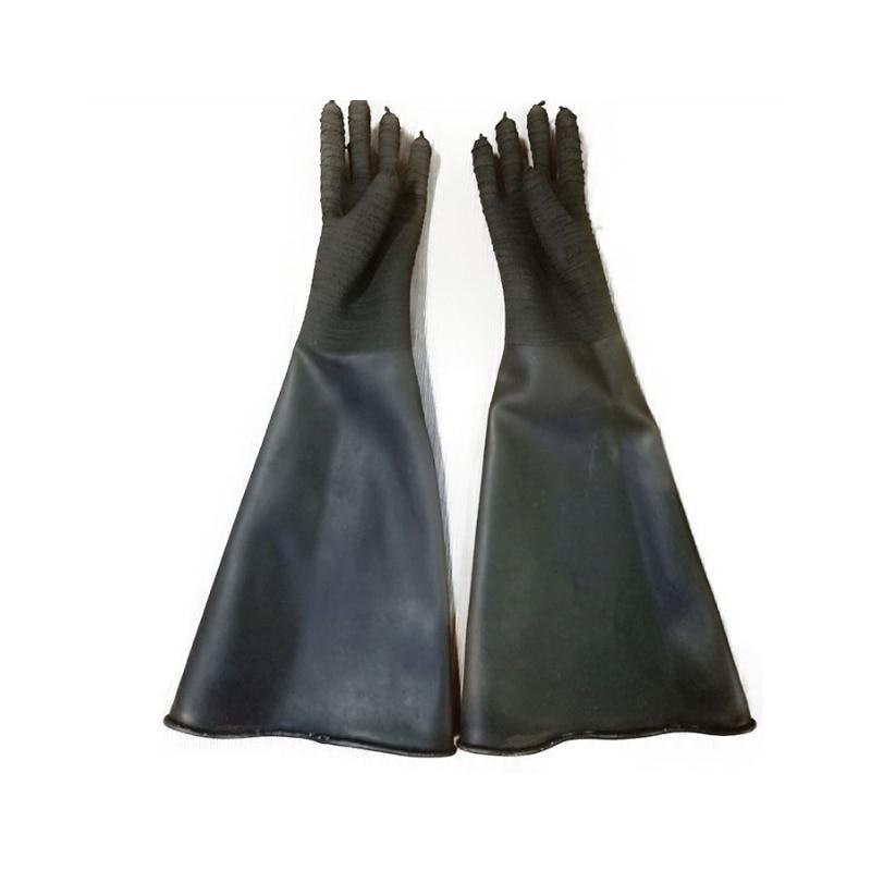 Guantes de chorro de arena negra de goma HHO, guantes de chorro de arena abrasivos a rayas para gabinete de voladura 65x30cm