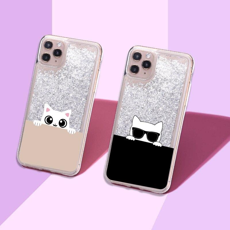 Cute Cat Sunglasses Cartoon Sparkle Liquid Real Glitter Phone Case Fundas Cover for iPhone 11 X XS X