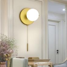 Nordic Modern Gold E27 Led Ball Wall Lamp With white Glass Lampshade for Bedroom Bedside Living Room Corridor Loft Decor 90-220v