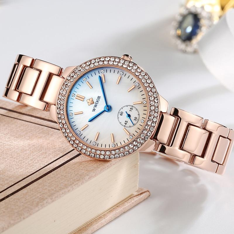 WWOOR Watch For Women 2021 Fashion Rose Gold Ladies Bracelet Watch Top Brand Luxury Crystal Quartz Watch Women Montre Femme Gift enlarge