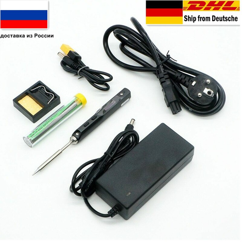 TS100 65W Mini Digital Electric Soldering Iron LCD Programable Display Adjustable Temperature with 2