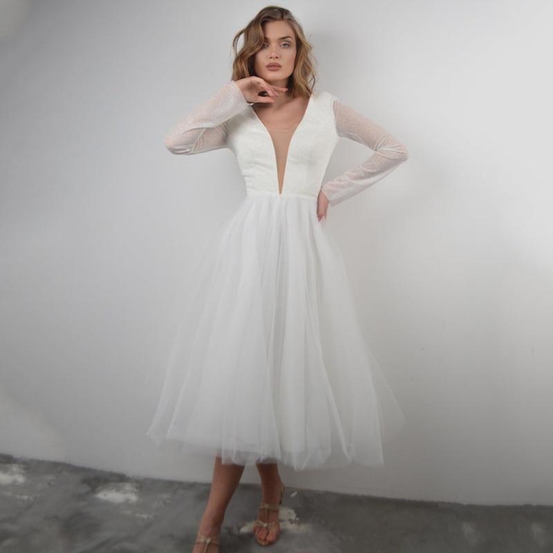 Eightree أنيق بريق مزدوج الخامس الرقبة فستان الزفاف كم طويل تول الشاي طول الزفاف ثوب مسائي فستان قصير مخصص الحجم