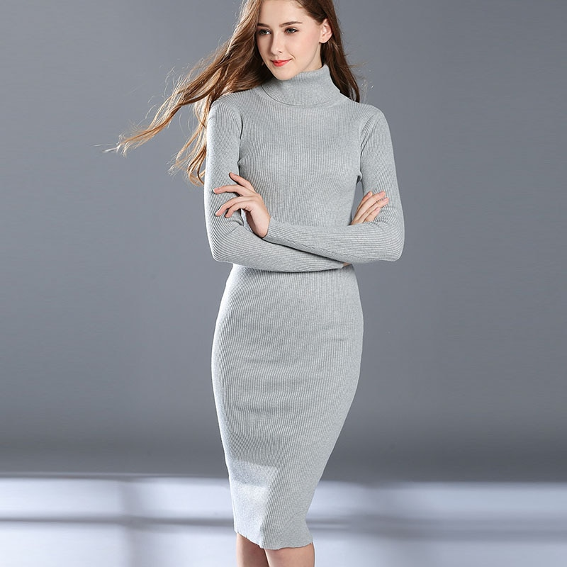 Women Autumn Winter Sweater Knitted Dresses Slim Elastic Turtleneck Long Sleeve Sexy Lady Bodycon Robe