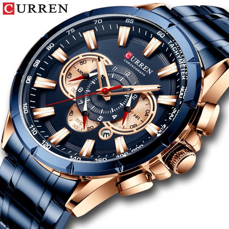 CURREN Wrist Watch Men Waterproof Chronograph Military Army Stainless Steel Male Clock Top Brand Luxury Man Sport Watches Clock