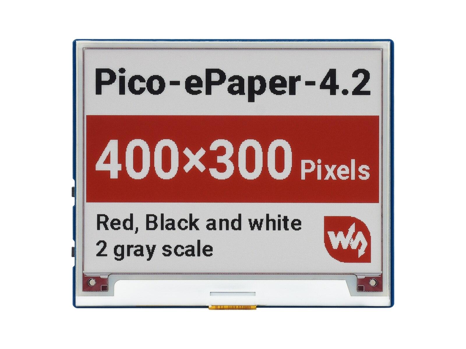 Pico-ePaper-4.2-B ، 4.2 بوصة E-Paper E-Ink وحدة عرض (B) For RPi Pico ، 400 × 300 بكسل ، أحمر/أسود/أبيض ، واجهة SPI