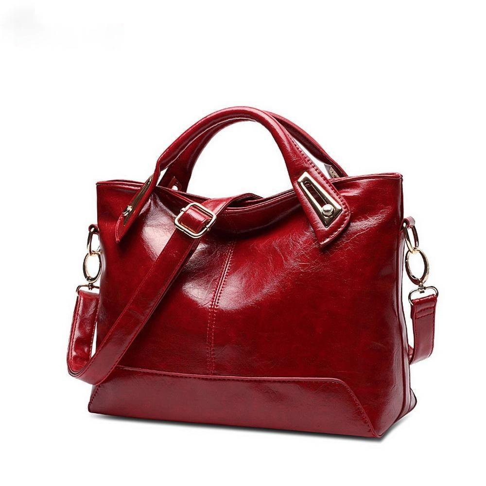 Women Oil Wax Leather Designer Handbags High Quality Shoulder Bags Ladies Fashion brand PU leather women bags