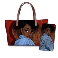 womens custom mode 2pcsset handbags black art african girls printing shoulder tote bag ladies travel beach hand bags females