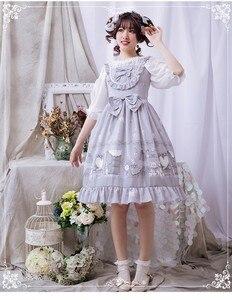 Sweet lolita dress vintage falbala bowknot cute printing high waist princess victorian dress kawaii girl gothic lolita jsk loli