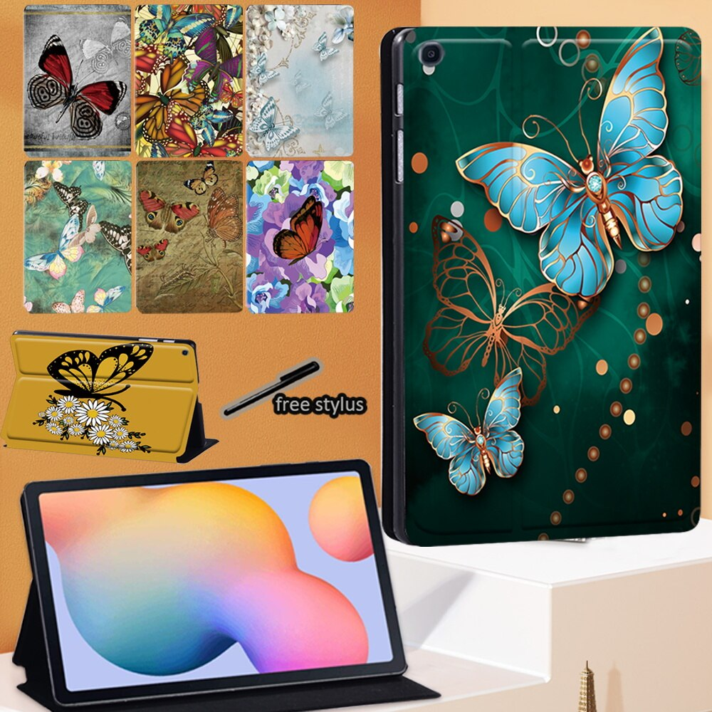 Tablet Case For Samsung Galaxy Tab S6 Lite 10.4 Inch 2020 P610 P615 PU Leather Stand Fashion Cover Case + Free Stylus