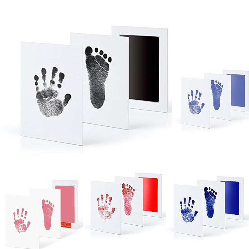baby handprint footprint frame newborn footprint kit footprint child special gift for births and baptisms safe clean non toxic 5Colors Baby Care Non-Toxic Handprint Kit Imprint Footprint Imprint Baby Souvenirs Newborn Baby Cushion Ink Footprint Infant Toy