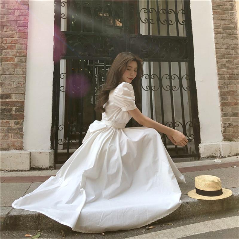 Fashion Women Irregular Retro French Dress Yellow White Puff Sleeve Back Bow Tie Midi A Line Dress Waisted Slim Holiday Dress