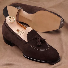 Men's Handmade Retro Fashion Dress Shoes Trend Casual Fashion Brown Suede Classic Tassel Low Heel  L