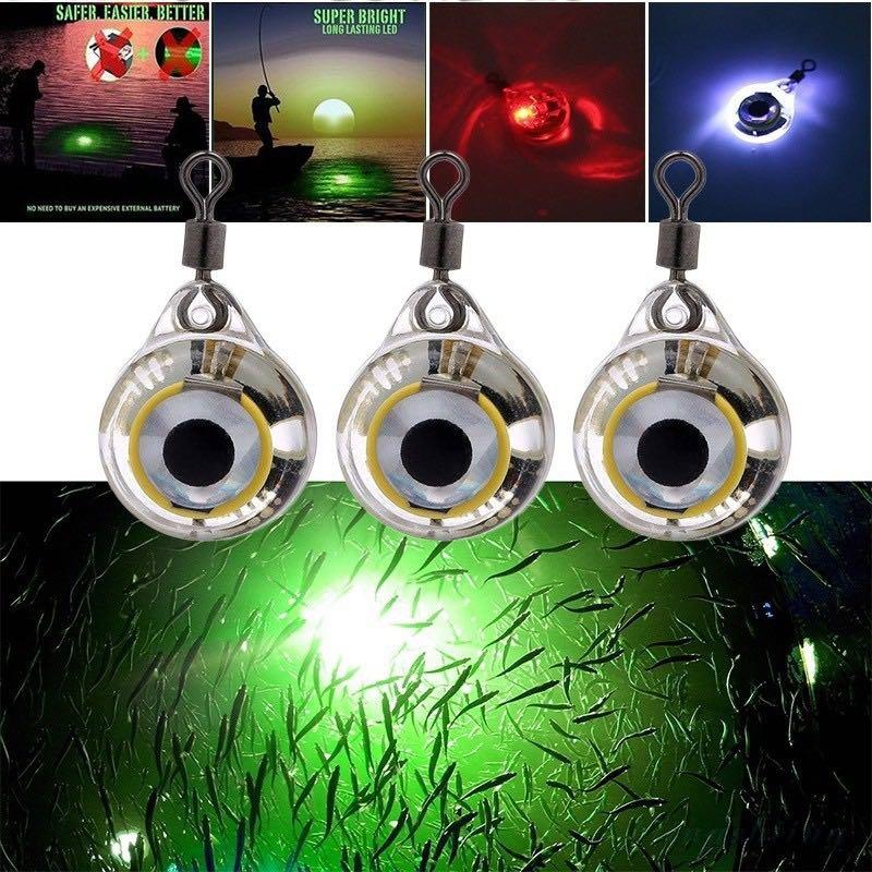 3pc/5pcs Mini Fishing Lure Light LED Deep Drop Underwater Eye Shape Fishing Squid Fishing Bait Luminous Lure for Attracting Fish