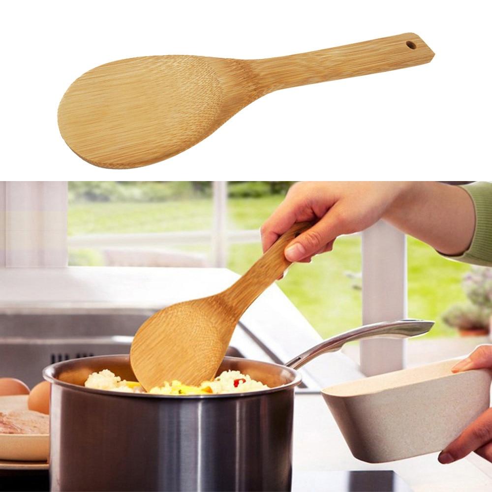 Utensílios de madeira para cozinha, instrumentos de cozinha de bambu natural para refeição, espátula, colher em madeira 45