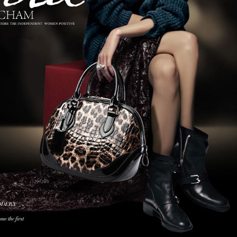 Couro do Couro para Mulheres Bolsa de Concha Bolsa de Moda Padrão de Leopardo Bolsa do Mensageiro Real Genuíno Couro Feminino Tote Ombro Marca –