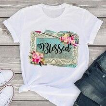 Donne dolce fiore freccia lettere carino stampato manica corta estate donna camicia da donna t-shirt abbigliamento top bella maglietta