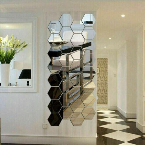 36 Pcs Acrylic Mirror Effect Tile Wall Sticker Room Decor Stick Art Bathroom DIY