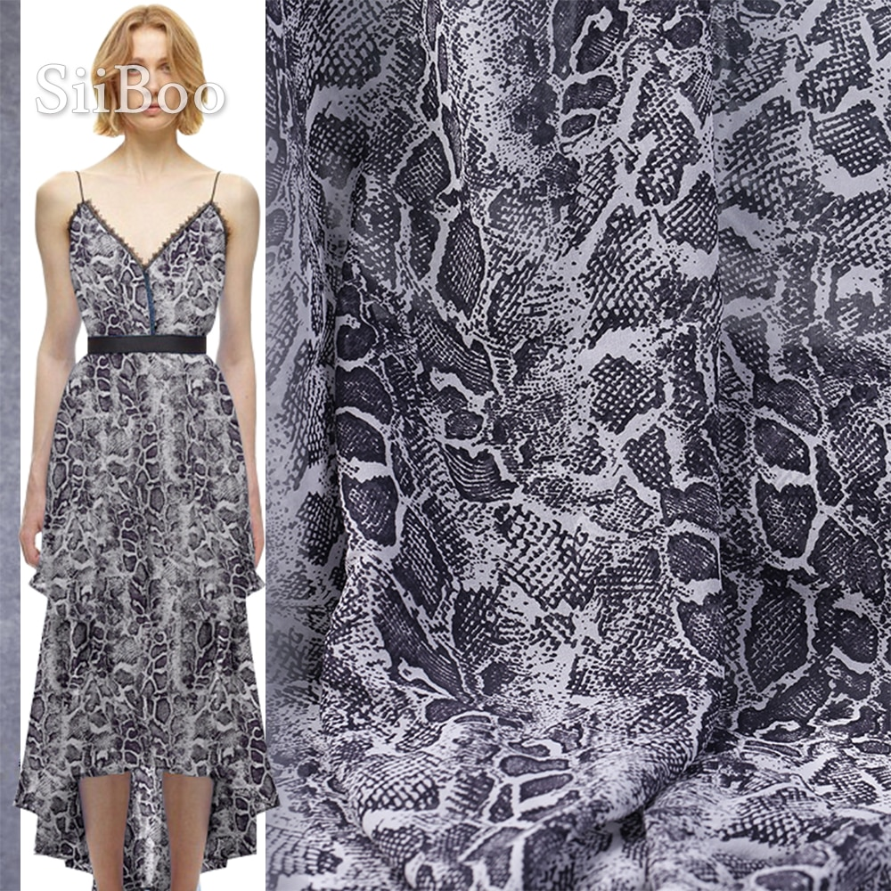 Siiboo chic serpent imprimé naturel georgette soie tissu pour les femmes robe haut costumes jupe Tela de seda sp6192