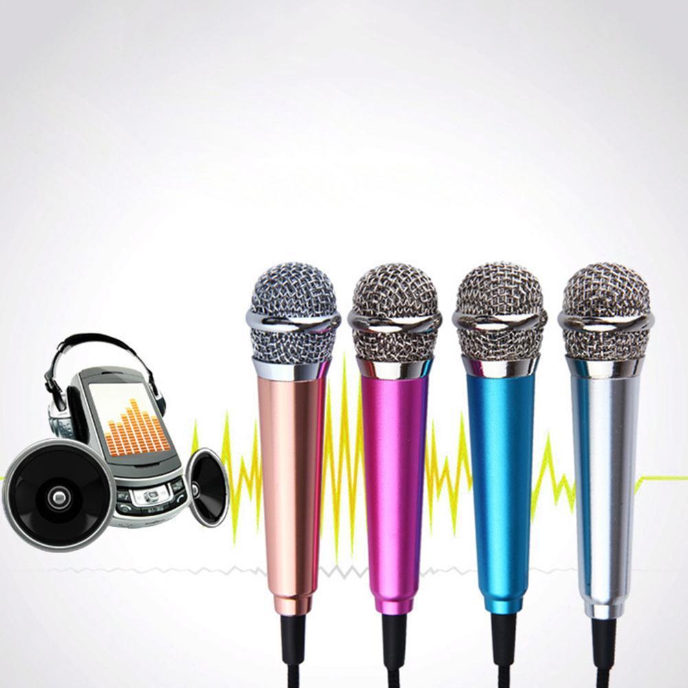 Bonito 3.5mm microfone condensador k música protable telefone cantar bar pequeno karaoke microfone ao vivo com suporte para iphone samsung