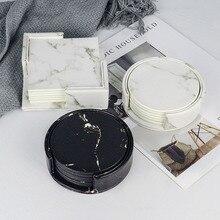 Set de 6 pièces de marbre sous-verre   Set de Table à manger, napperons de boisson, tasse de café, tapis de Table noir blanc Chic décoration de la maison en cuir PU *