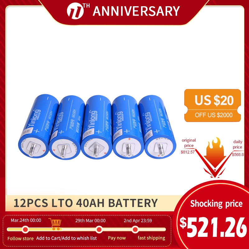 Batería de titanato de litio para bricolaje, 12 Uds., 2,3 V, 66160,...