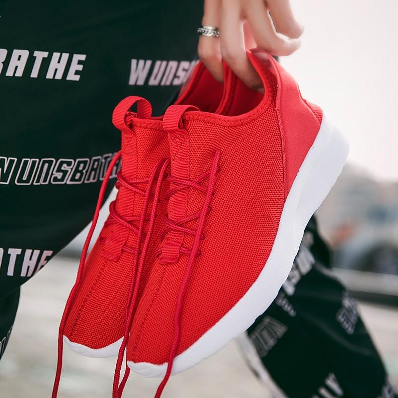2018 noir blanc rouge chaussures décontractées haut baskets hommes chaussures respirant maille homme chaussures S2558-2564 Dn