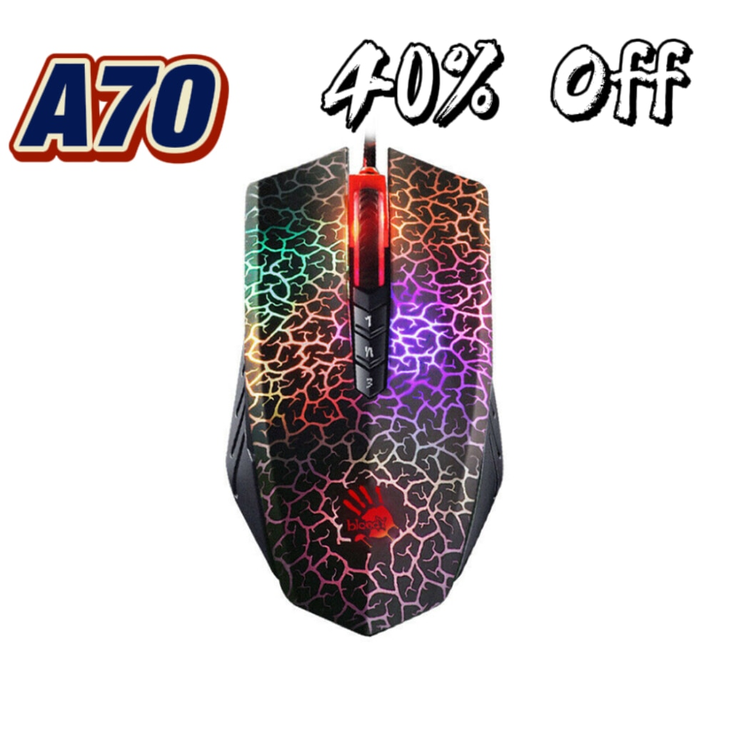 For Bloody A70 A90 4000DPI USB Wired Gaming Mouse Optical Sensor Colorful Glare Gaming Mice For Professional Gamer For PC Laptop