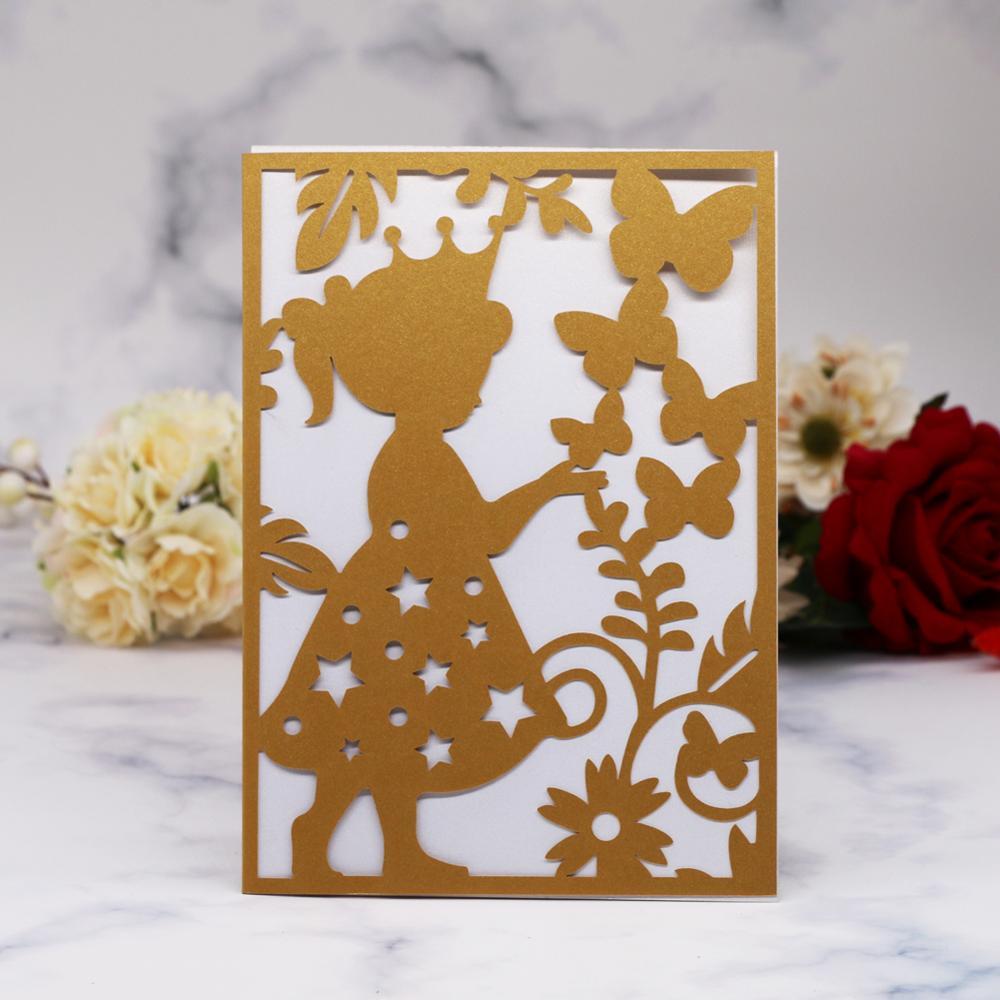 20 unids/lote tarjetas de invitación de fiesta de cumpleaños románticas para niñas pequeñas Princesa y mariposa de corte láser hueco de alta calidad