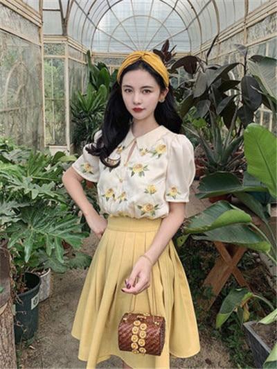 Sukienka Mrwater Drop Jun watcled Wall wyszywany Top żółte róże damskie lato dwuczęściowy zestaw na linii spódnica garnitur