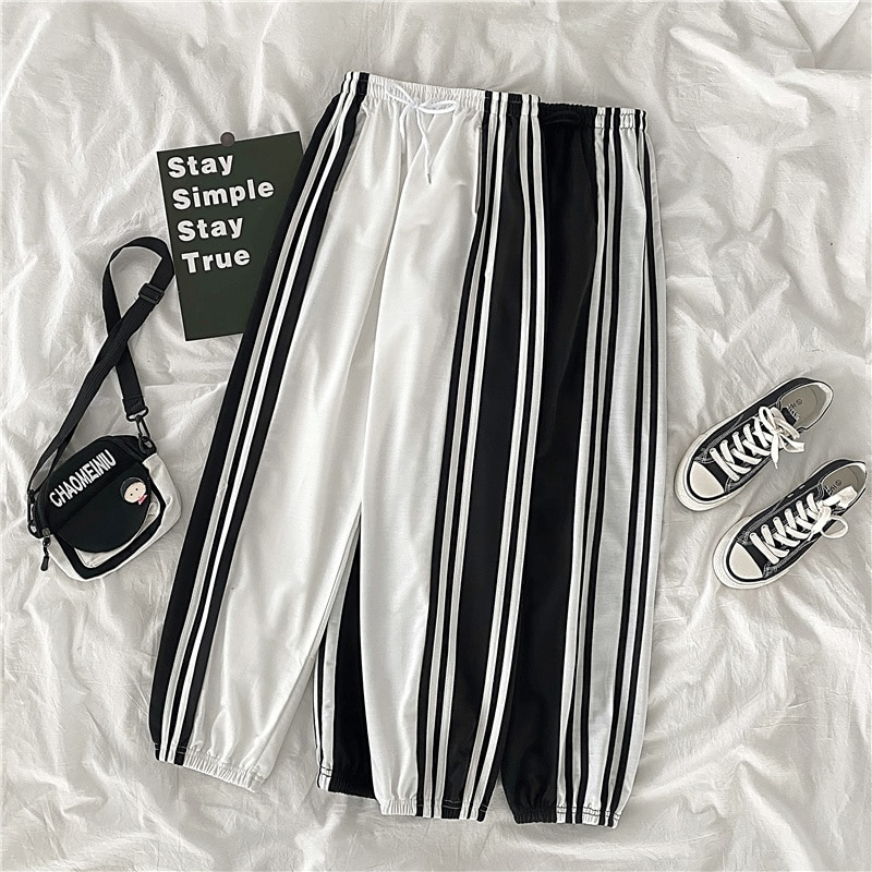 Ankle-Tied Wide-Leg Pants Female Small Sized Man's Wear Korean Style Loose Straight Student Casual S