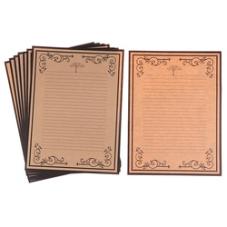 1 conjunto (8 folhas) estilo europeu padrão decorativo vintage laço lado carta papel de escrita kraft