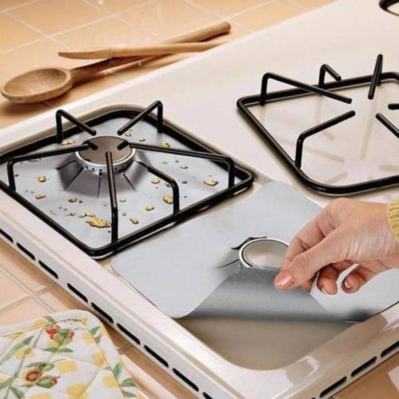 1/2/4 pces protetores de fogão a gás cobrir protetores de fogão a gás reutilizáveis folha de fogão a gás limpo esteira proteção forro cozinha accessor