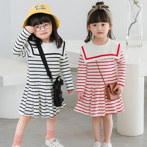 2020 Autumn Toddler Girls Dress Kids Fashion Striped Dress Korean College Style Pleated Long Sleeve Dress for Girl 2 3 4 5 6 Y