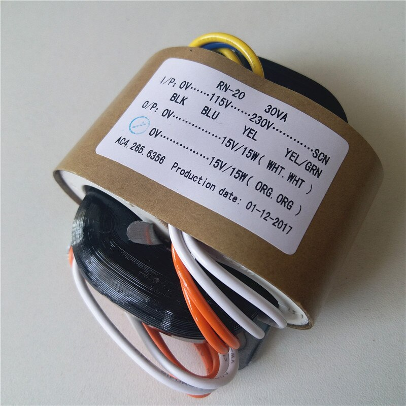 Transformador de núcleo R 15V 1A 15V 1A 115-230V /220V entrada 30VA para fuente de alimentación del amplificador