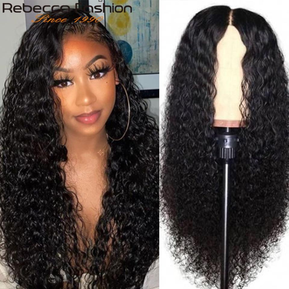 Pelucas de pelo humano frontal de encaje de Rebeca para mujeres negras de Color Natural de 10 a 14 pulgadas de pelo lacio Remy peruano media peluca Bob