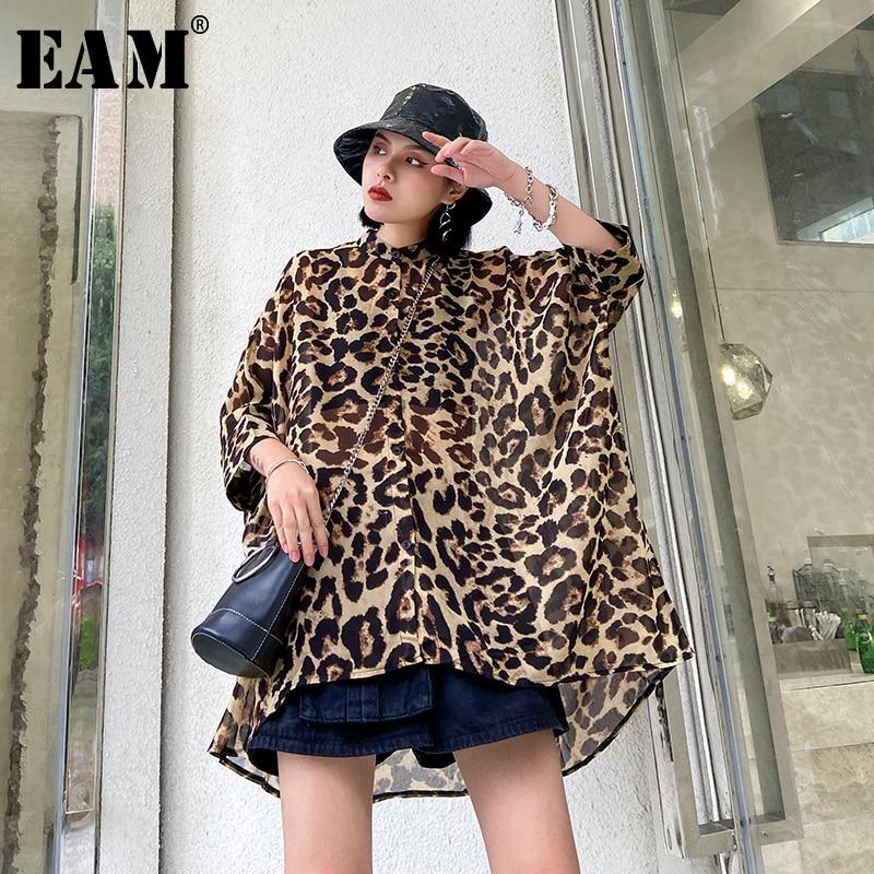 [EAM] Women Leopard Printed Thin Big Size Chiffon Blouse New Stand Collar Loose Fit Shirt Fashion Spring Summer 2020 1U011