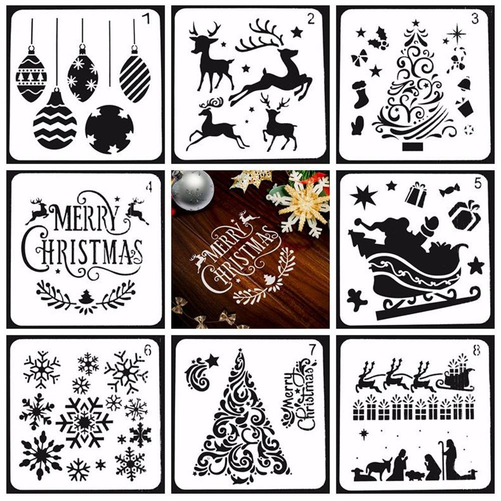 Plantilla de dibujo de copos de nieve de árbol de Navidad, plantilla...