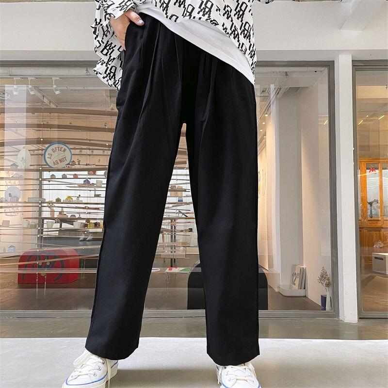 Большой карман брюки карго мужские корейские повседневные штаны мужские модные свободные прямые брюки мужские широкие брюки мужские брюки