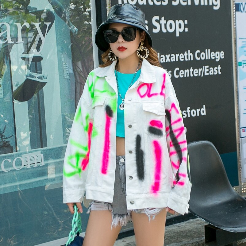 Moda o novo solto all-match tinta jato pintado jaqueta jeans frete grátis