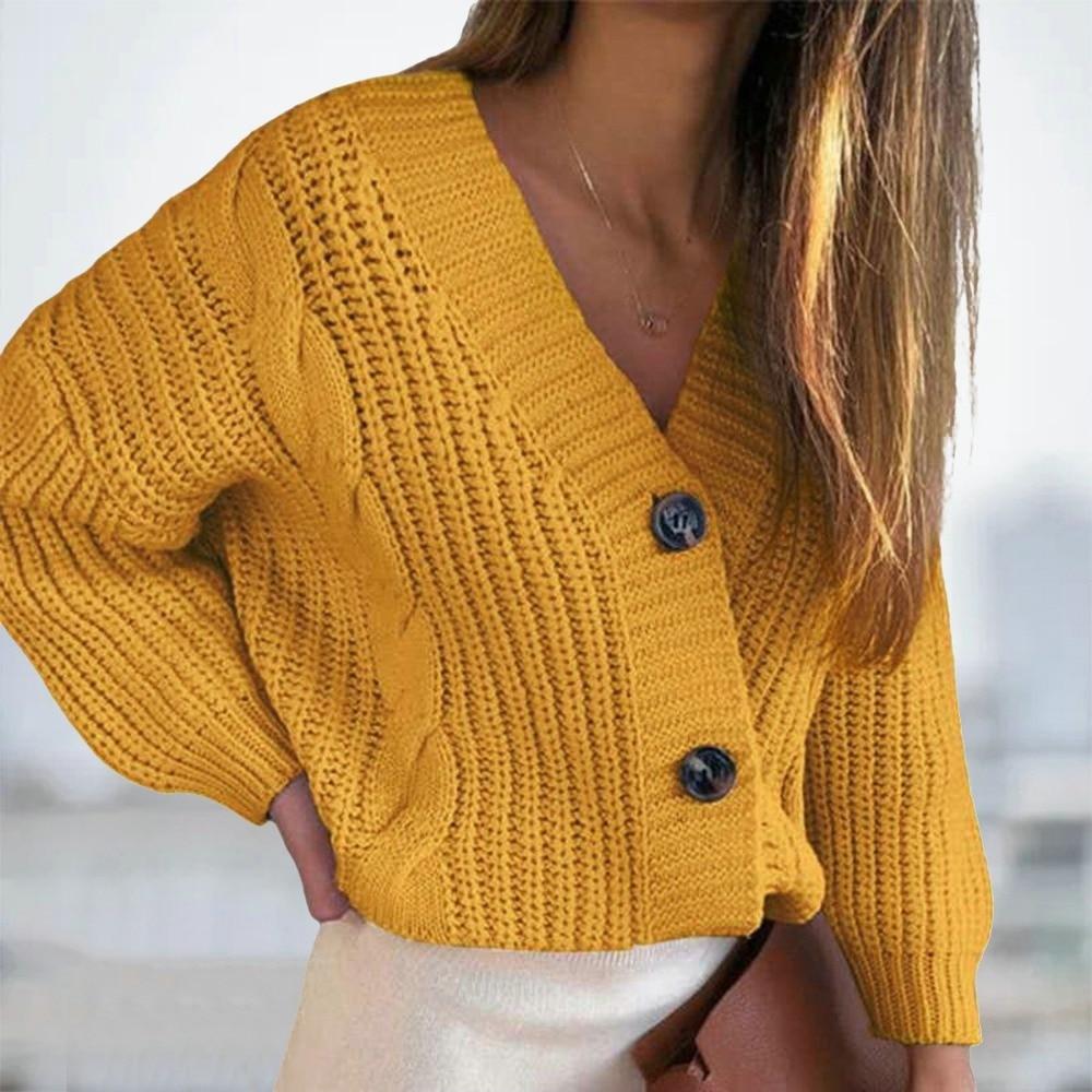 Женский короткий кардиган, вязаный свитер, джемпер с длинным рукавом и V-образным вырезом, кардиганы, Повседневная Уличная мода, Женское пал...
