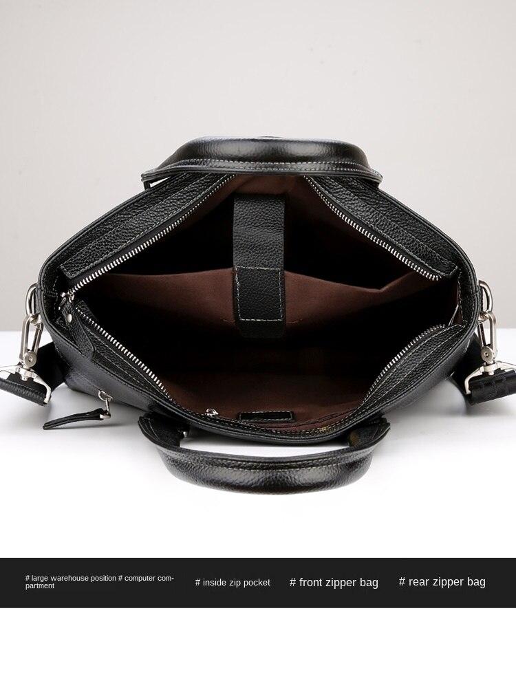 Briefcase Men's Business Men's Simplicity Handbag Genuine Leather Shoulder Messenger Bag Youth Leather Bag Computer Bag