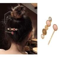 pearl pink hairpins fashion bangs hair clips women colorful shiny headdresses barettes headgear girls wedding hair accessories