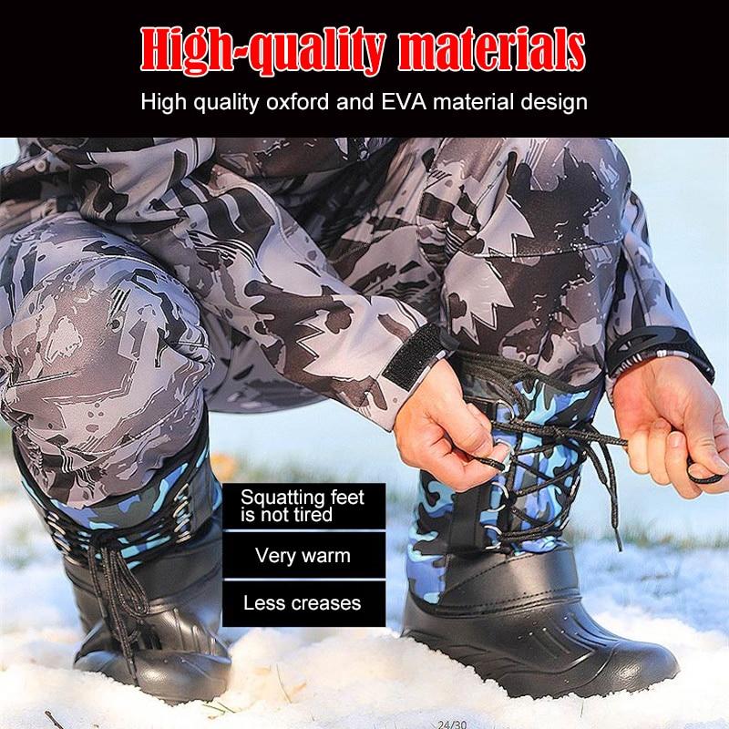 Купить с кэшбэком Winter Fishing shoes waterproof Fishing Rubber boots Non-slip Plus velvet Wading Keep warm Snow shoe fly fishing outdoor product