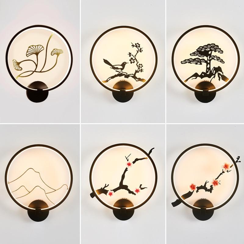 Nueva lámpara de pared de estilo chino, Lámpara decorativa para pasillo, sala de estar, dormitorio, Hotel, lámpara de pared para cabecera, artesanía de hierro redonda de estilo chino