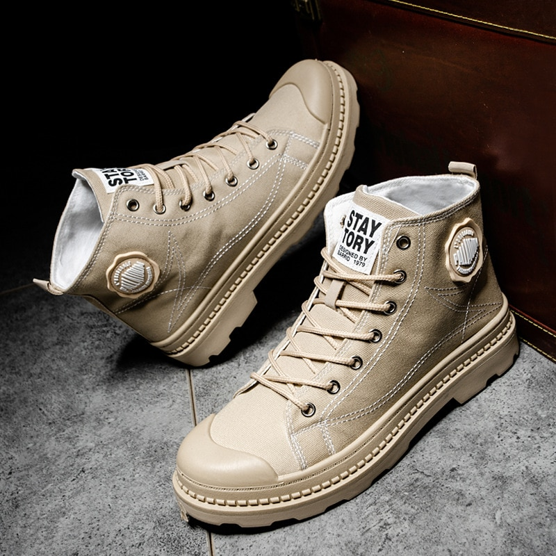 [leisure high top Martin boots series] new trend of autumn and winter 2021 Korean British style retro men's shoes