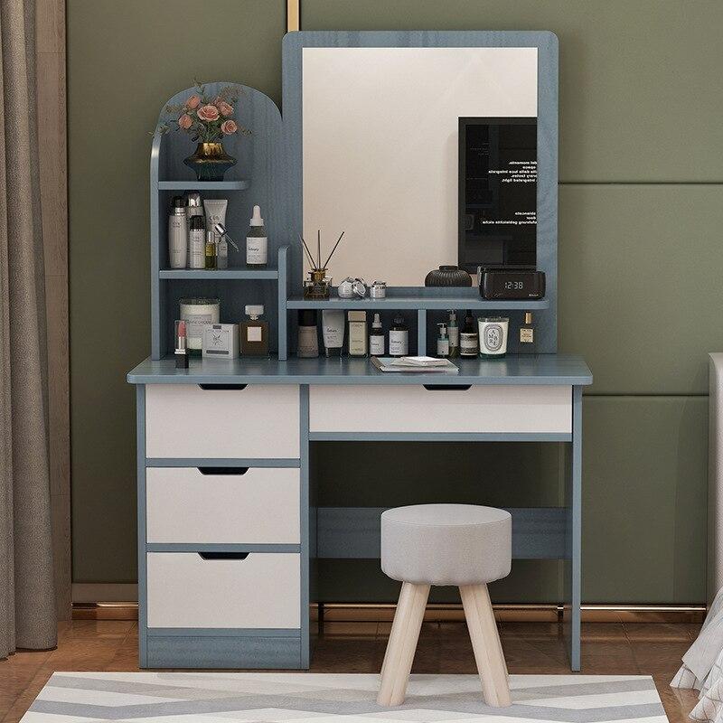 Armário da vaidade do espelho e do tamborete armário indefinido mobília do quarto de madeira cômoda organizador de maquiagem 50cm