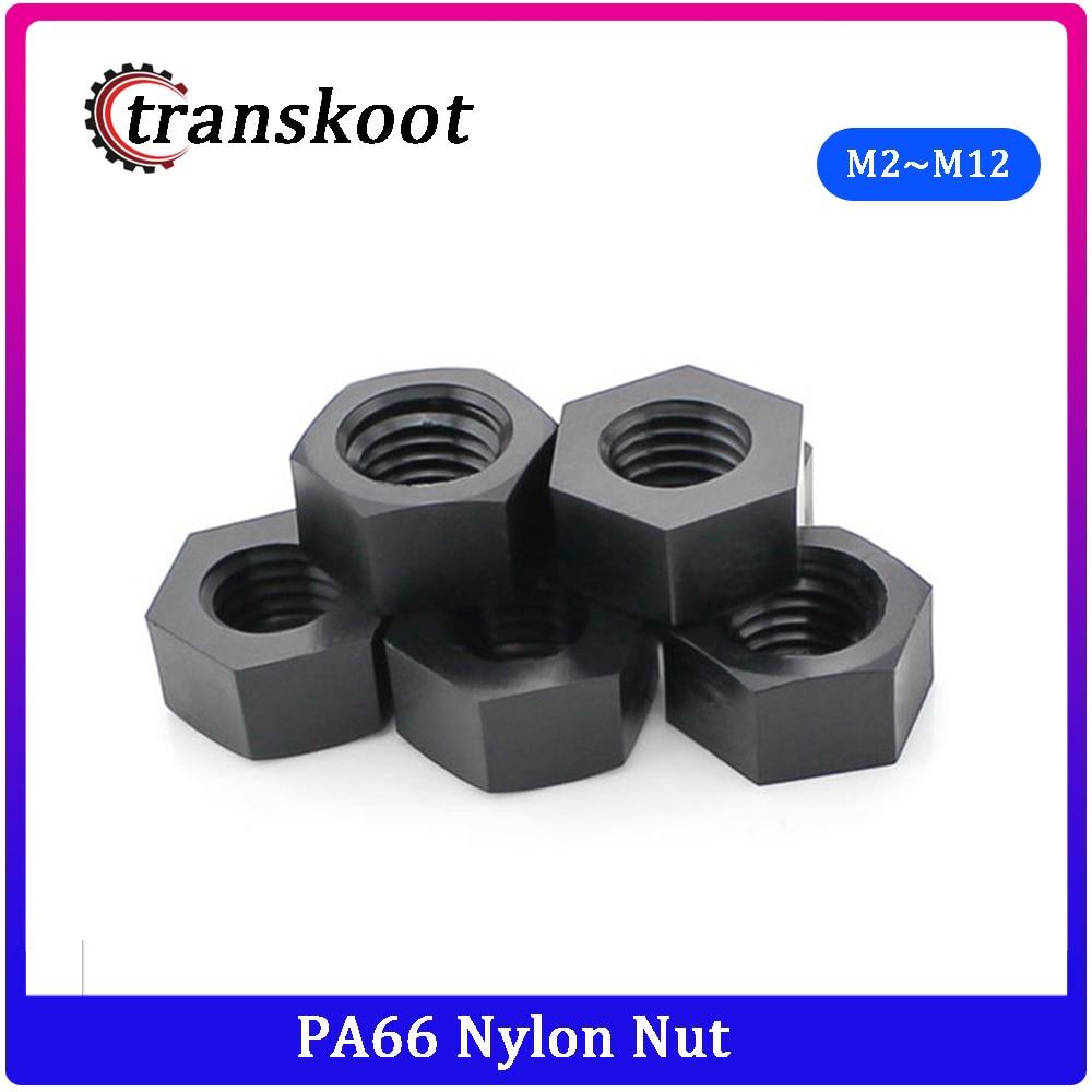 50Pcs DIN934 M2 M2.5 M3 M4 M5 M6 M8 M10 M12 Black Nylon Bolt Nylon Hex Nut Hexagon Plastic Nuts